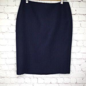 Talbots Navy Blue Tweed Pencil Skirt